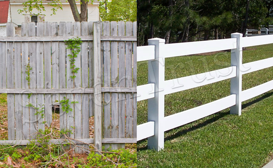 Wooden fence and PVC fence contrast