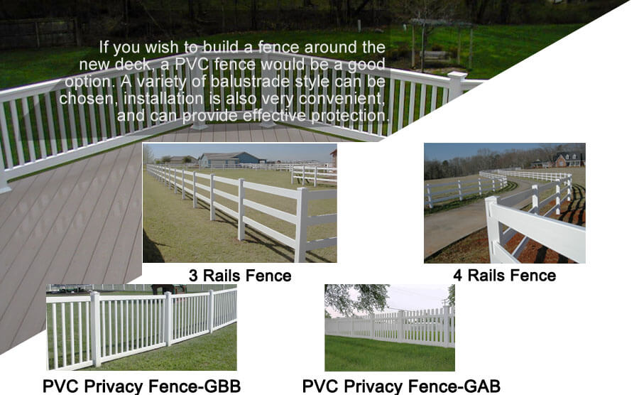 Outdoor deck pvc fence construction