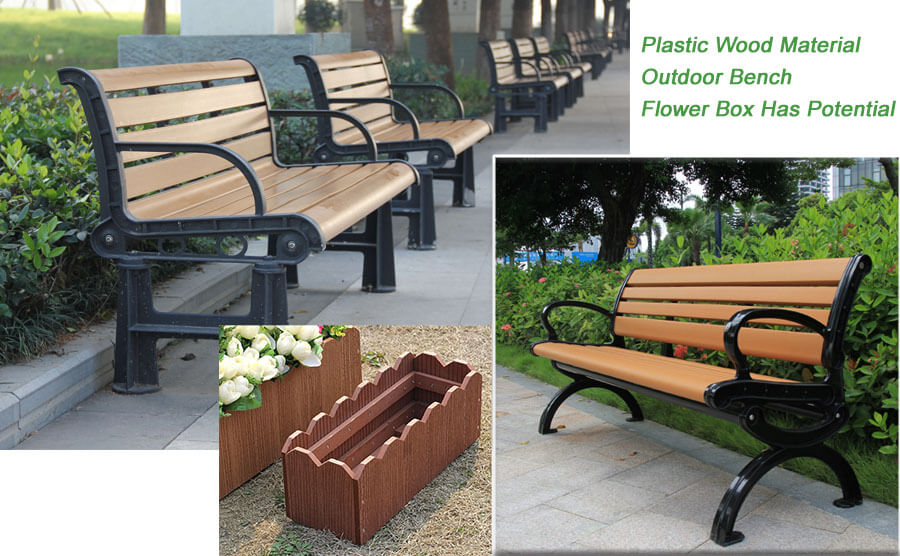 Plastic Wood Material Outdoor Bench Flower Box Has Potential